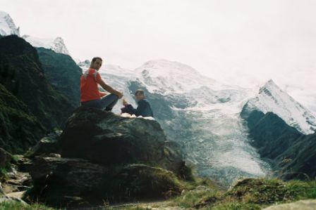 A merenda com vista para o Glaciar de Bossons