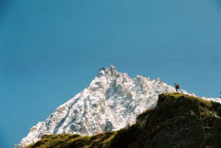A Aiguille du Midi ao longe (vista do Glaciar de Bossons)